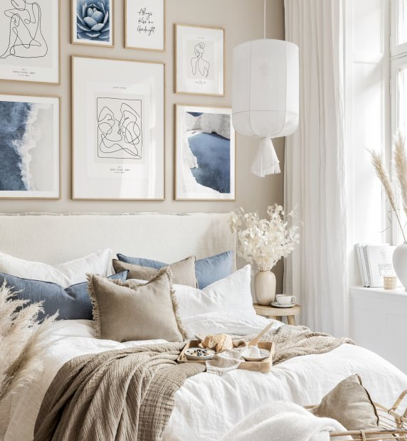Modern blue and sandy beige gallery wall line art prints beige bedroom ideas