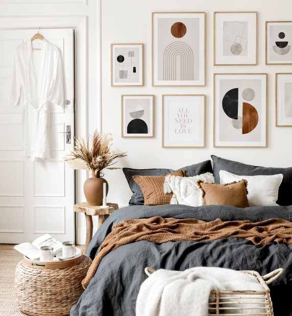 Graphic Shapes gallery wall graphic art bedroom ideas
